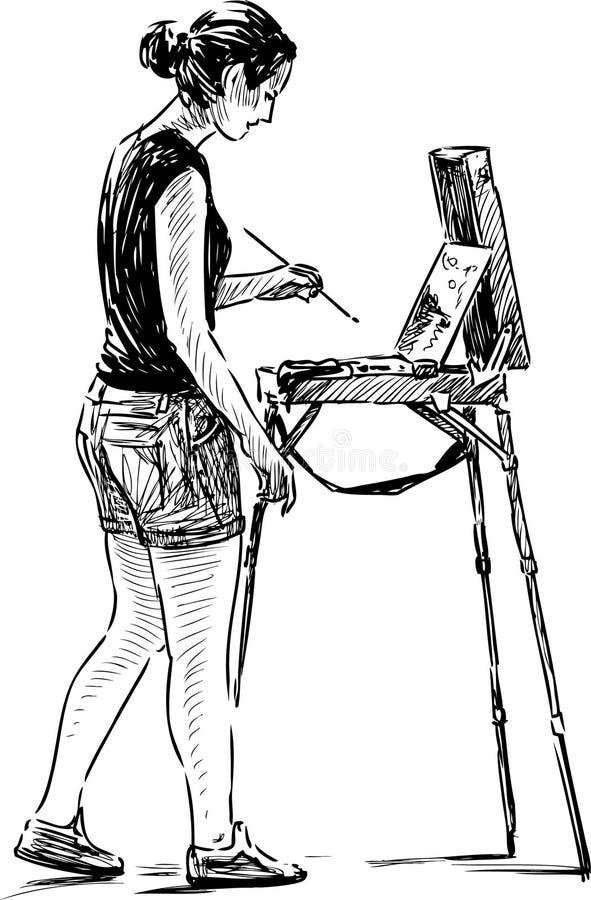 Artista novo no ar livre ilustração stock