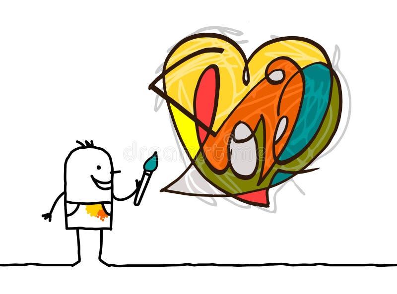 Artista Painting dos desenhos animados um coração moderno do estilo ilustração royalty free