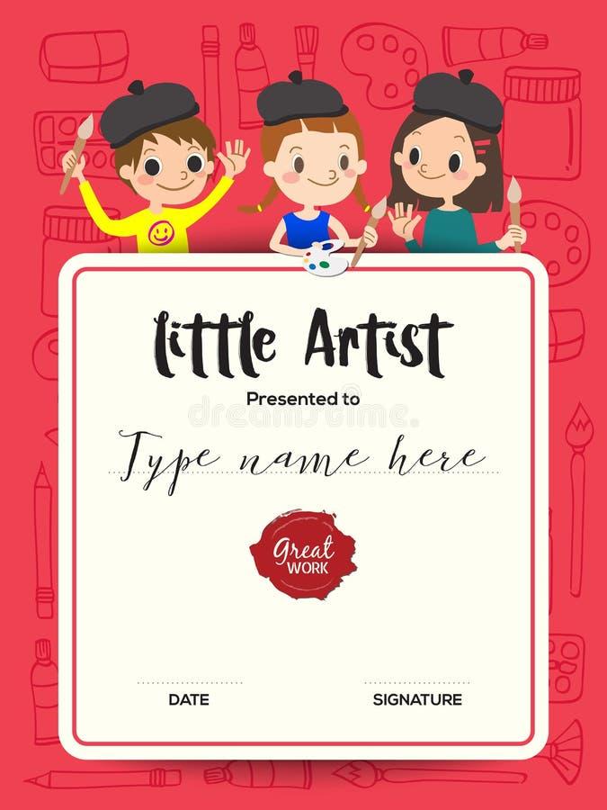 Artista pequeno, molde do certificado do curso da pintura do diploma das crianças ilustração royalty free