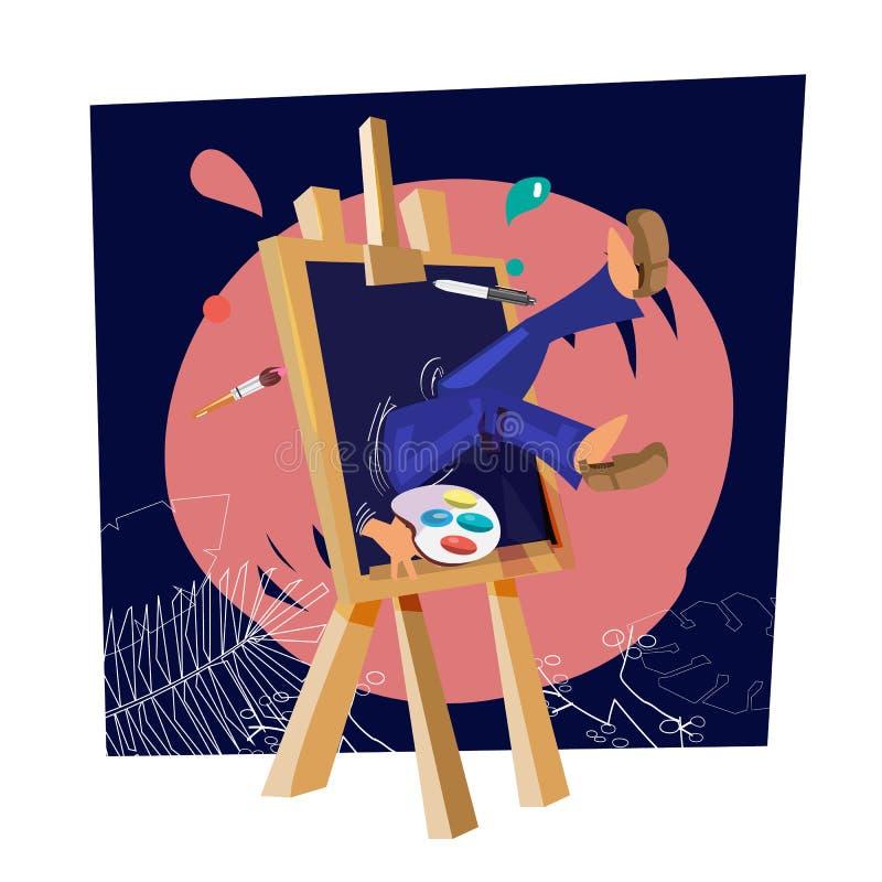 Artista que cae abajo en amante de pintura del arte del canvast o concepto realista de la pintura - ilustración del vector
