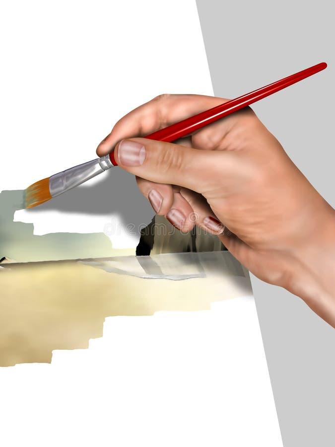 Artista que pinta um retrato ilustração do vetor