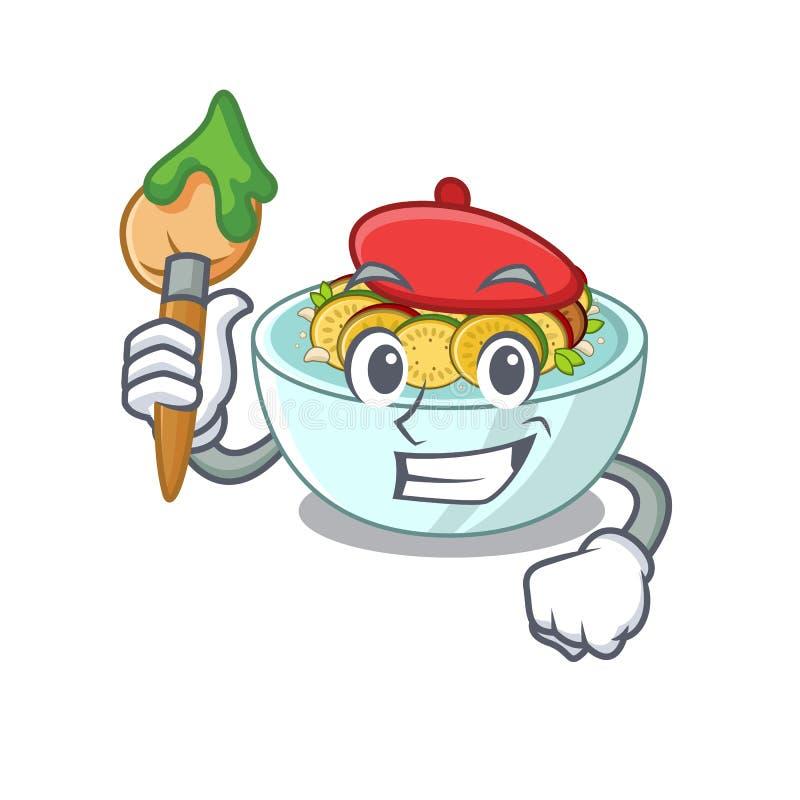 Artista ratatouille é cozido em mascote pan ilustração do vetor