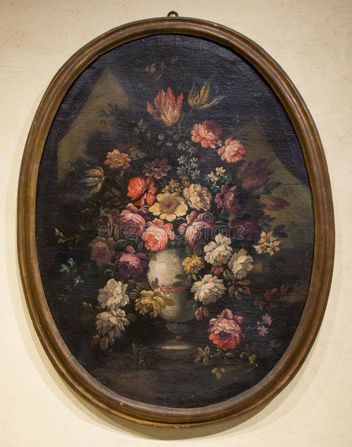 Artista sconosciuto - natura morta di bei fiori immagini stock libere da diritti