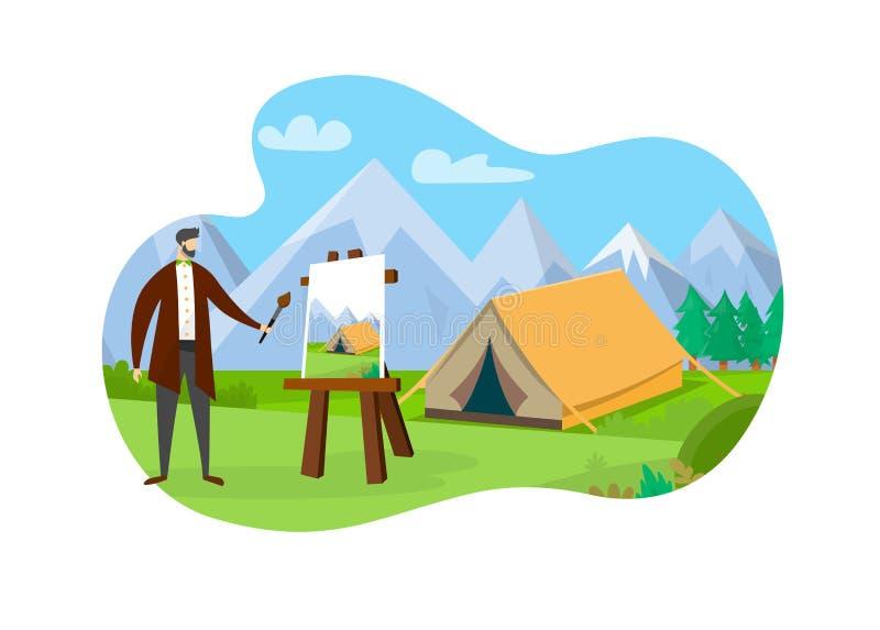 Artista Standing dell'uomo davanti al cavalletto con tela illustrazione di stock