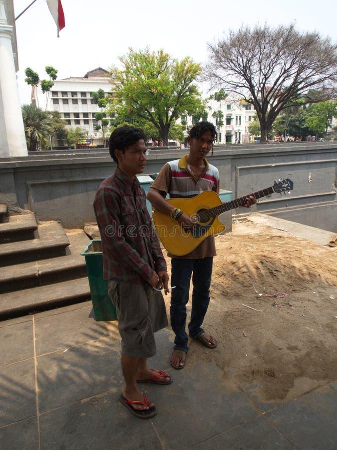 Artista Street nel vecchio quadrato Viaggio a Jakarta, la capitale immagini stock libere da diritti