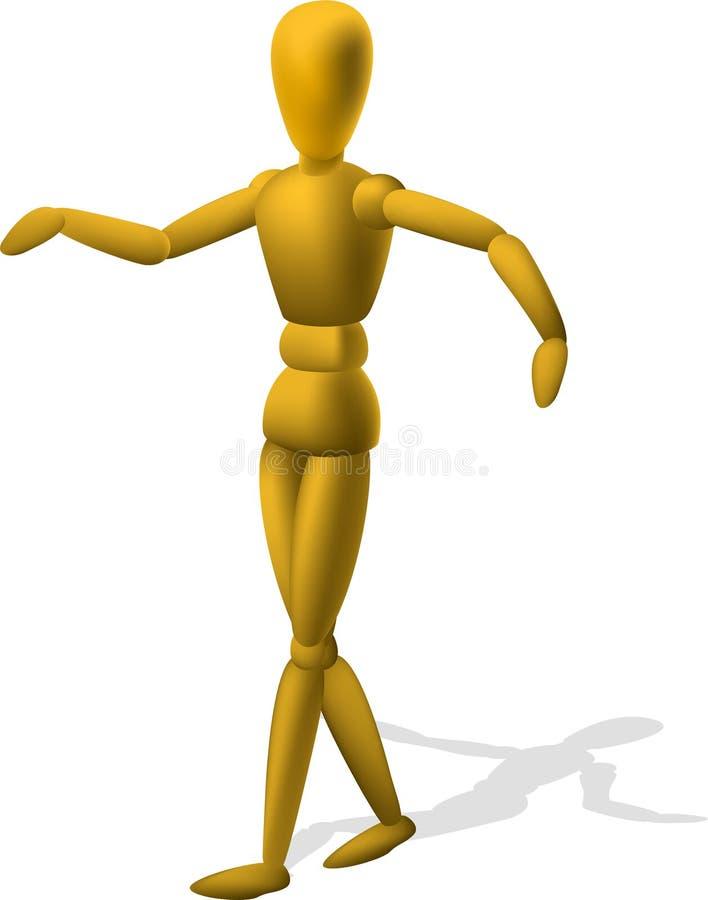 Artista Wooden Mannequin Figurine stock de ilustración