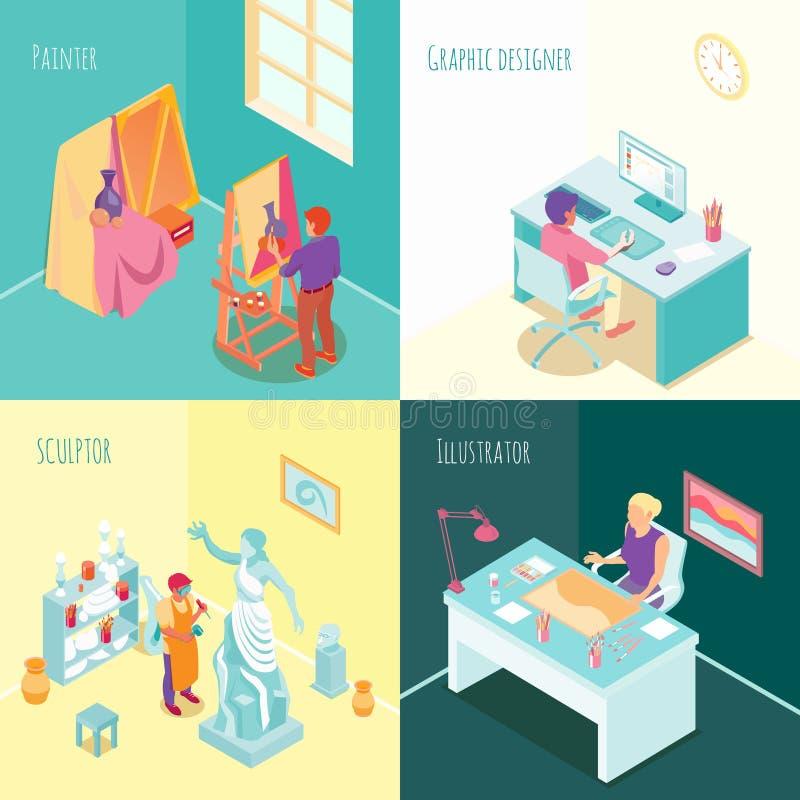 Artista Work Isometric Concept illustrazione di stock