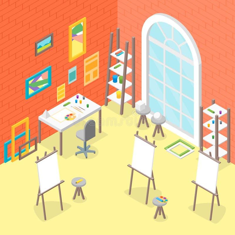 Artista Workplace Interior con la vista isometrica della mobilia Vettore royalty illustrazione gratis