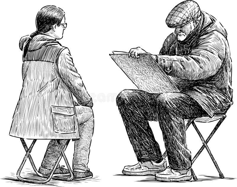 Artista y modelo ilustración del vector