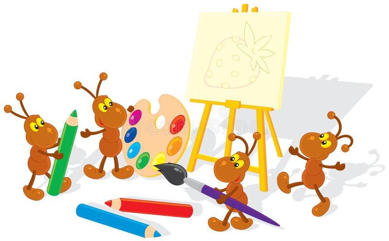 Artistas das formigas ilustração stock