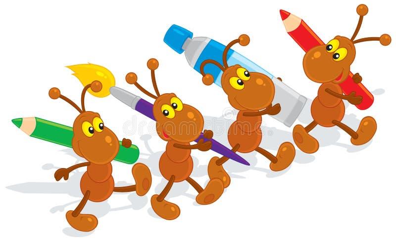 Artistas das formigas ilustração do vetor