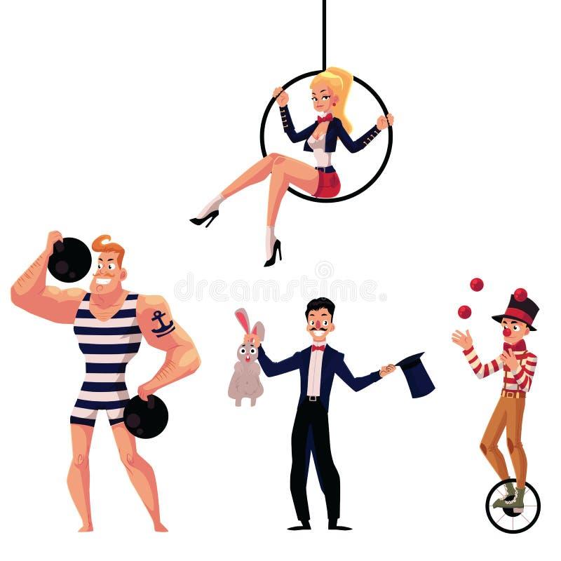 Artistas del circo - dictador, ilusionista, gimnasta aéreo y juglar ilustración del vector