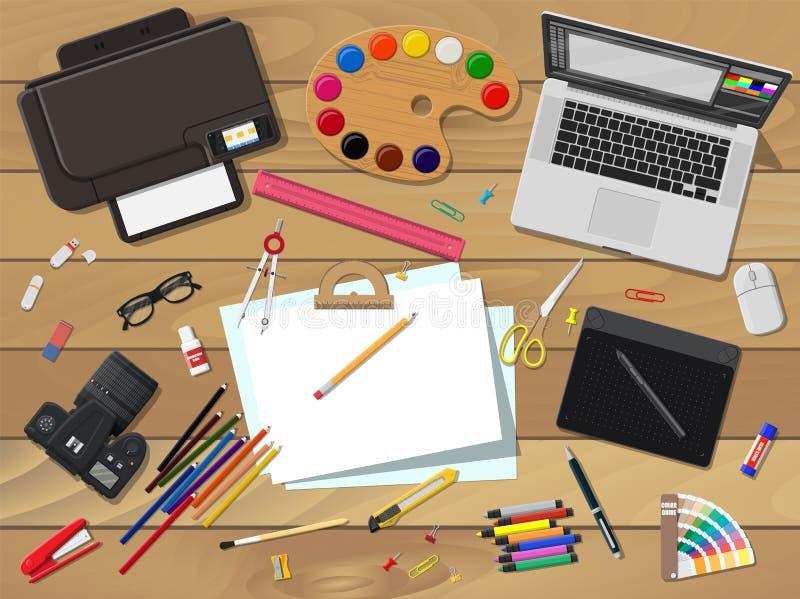 Artistas o lugar de trabajo del diseñador stock de ilustración