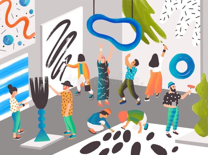 Artistas y escultores que pintan y que esculpen en la residencia o el lugar del arte para la gente creativa El crear de los hombr stock de ilustración