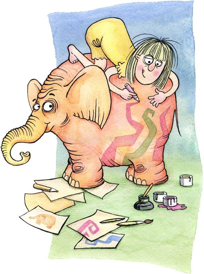 Artiste à l'illustration d'aquarelle d'â de travail illustration libre de droits