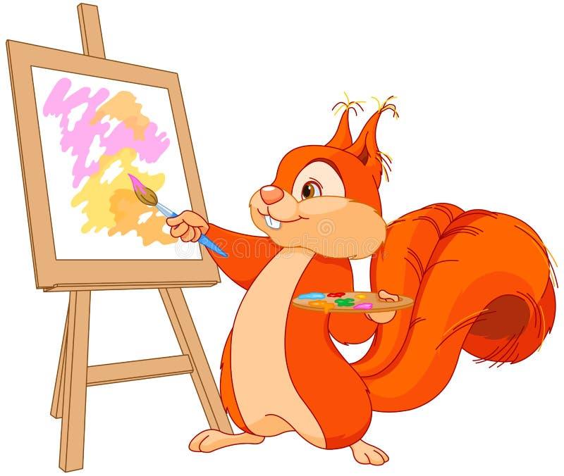 Artiste d'écureuil illustration de vecteur