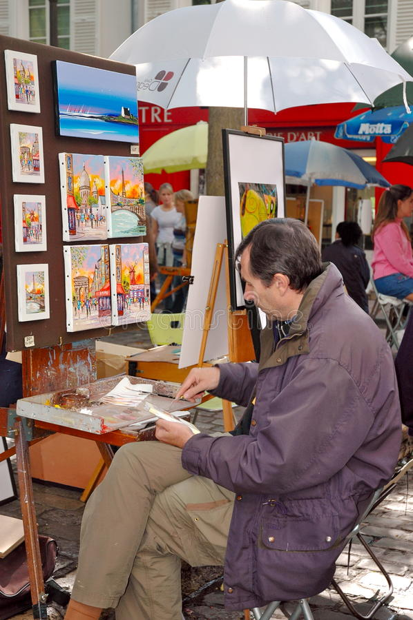 Artiste dans Montmartre, France photo libre de droits