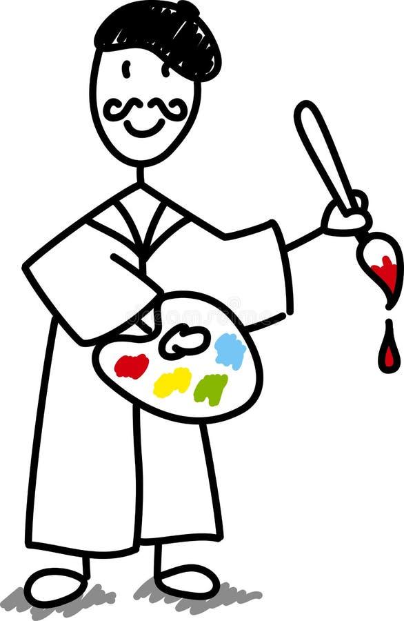 Artiste de dessin anim avec la palette illustration de for Artiste dessin