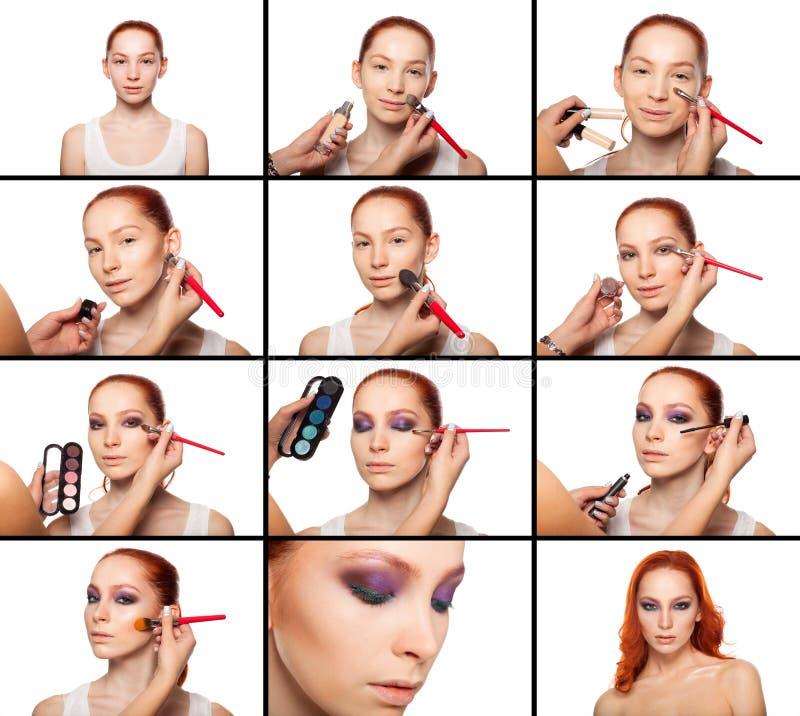 Artiste de maquillage professionnel faisant le charme avec le rouge image libre de droits