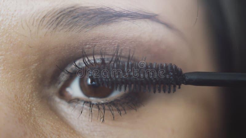 Artiste de maquillage s'appliquant le maquillage de cil à l'oeil modèle du ` s photo libre de droits