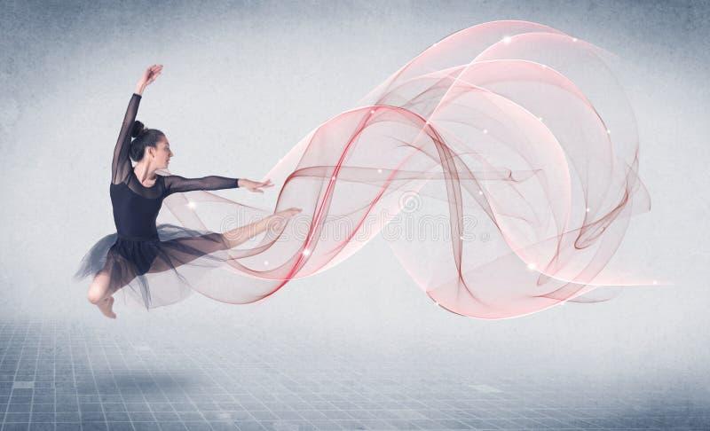 Artiste de représentation de ballet de danse avec le remous abstrait images libres de droits