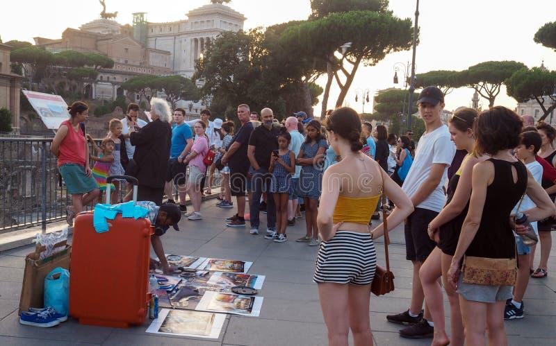 Artiste de rue au centre de la ville de Rome, Italie photo stock