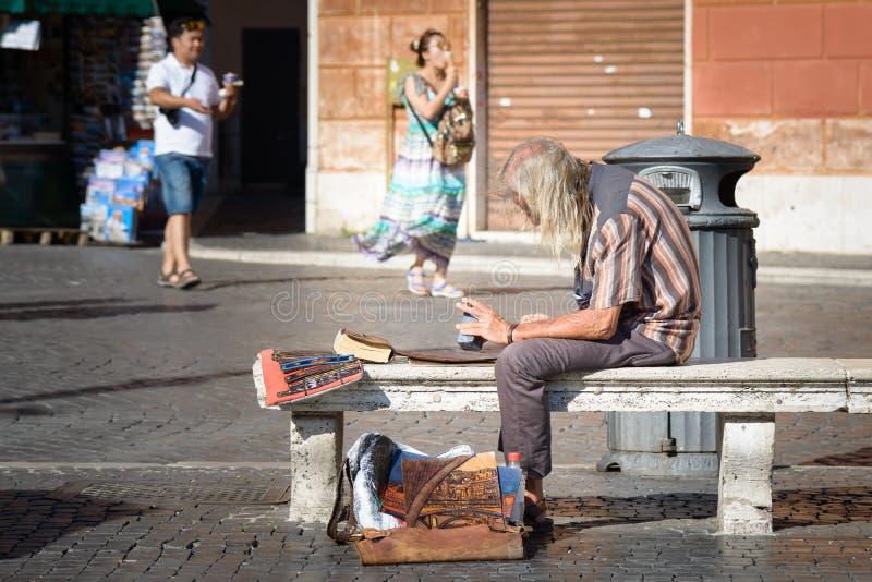 Artiste de rue dans la place de Navona photos libres de droits