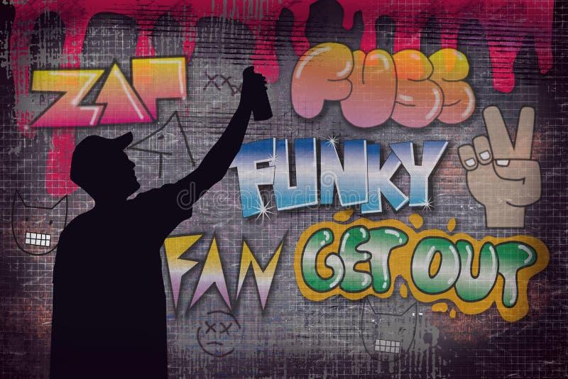 Artiste de rue peignant le graffiti coloré sur le mur la nuit - concept d'art moderne avec les murales vivants de peinture urbain illustration de vecteur