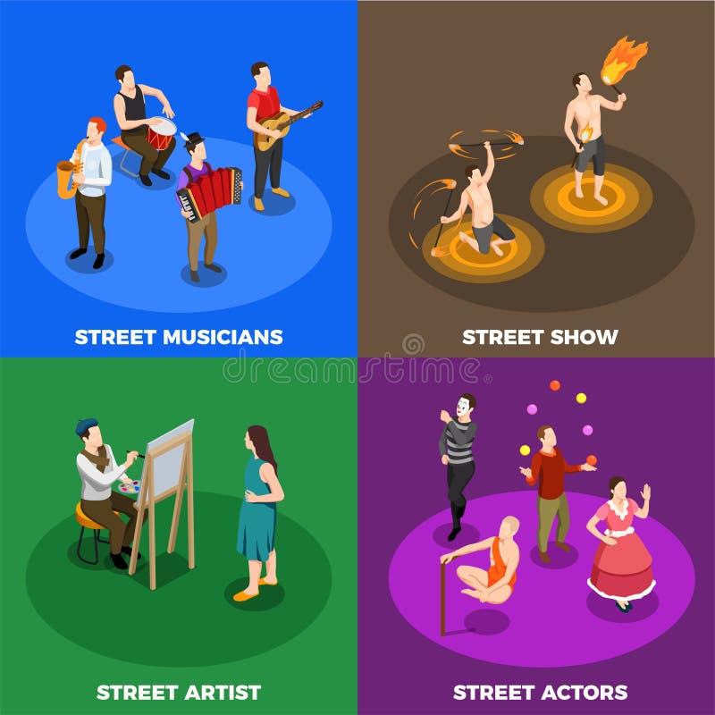 Artiste Isometric Design Concept de rue illustration de vecteur