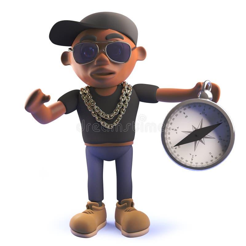 Artiste rap américain d'houblon de hanche de la bande dessinée 3d d'africain noir avec la boussole magnétique illustration libre de droits