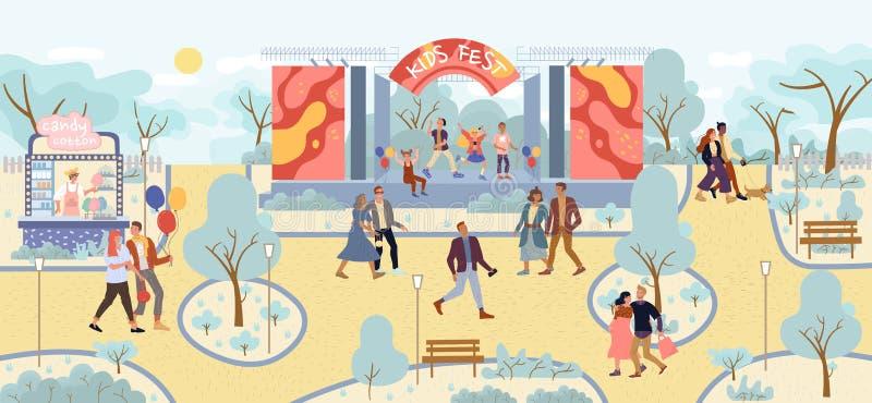 Artisti bambini performance di band musicale nel parco royalty illustrazione gratis