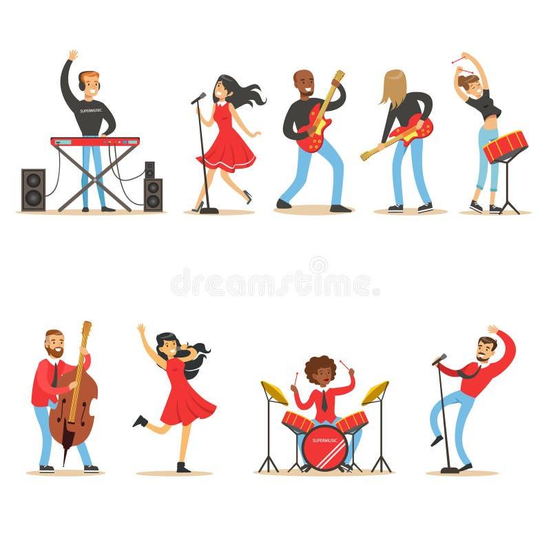 Artisti che giocano gli strumenti di musica e che cantano in scena l'insieme di concerto dei caratteri di vettore del fumetto dei royalty illustrazione gratis