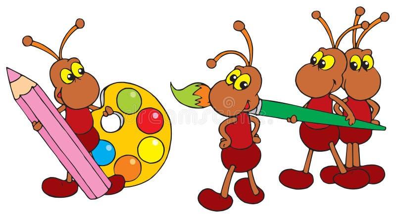 Artisti delle formiche (clip-arte di vettore) illustrazione di stock