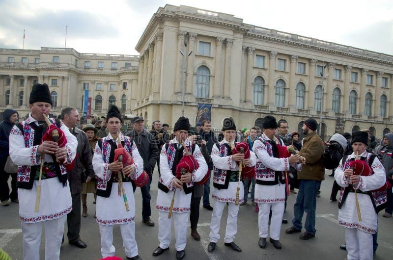 Artisti tradizionali rumeni di musica immagini stock