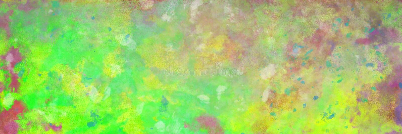 Abstract background with painted stains and old vintage texture in bright neon ufo green pink blue purple white and yellow colors vector illustration