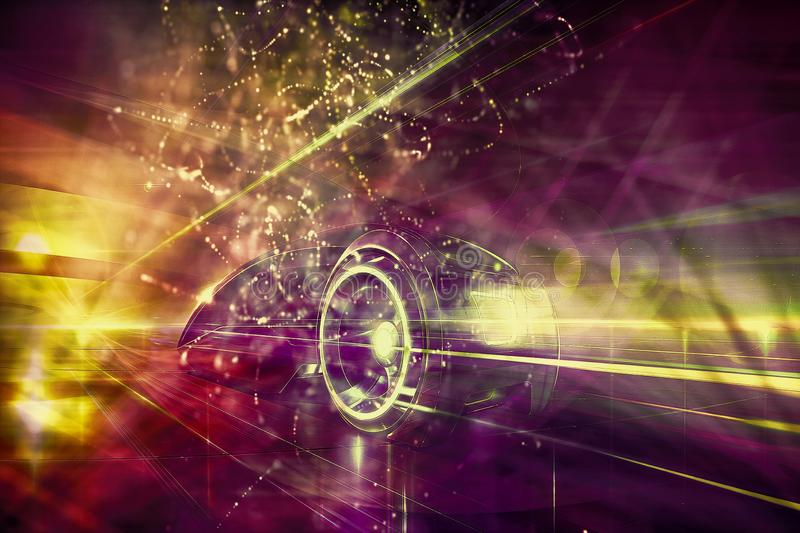 Artistic Abstract Energy Field Shaped As A Modern Race Car Background. Abstract soft computer generated energy field with fractal abstract speeding futuristic royalty free stock photo
