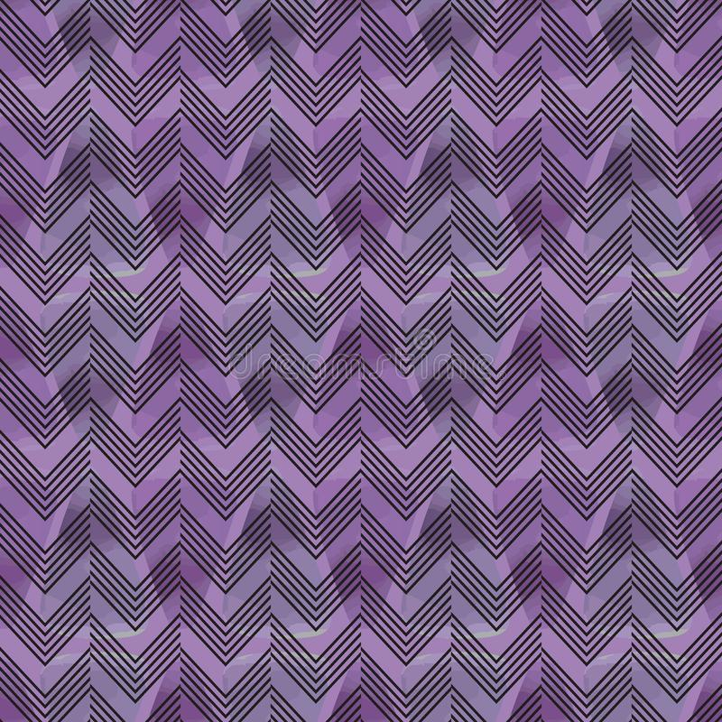 Artistic abstract watercolor background with chevron seamless pattern. royalty free illustration