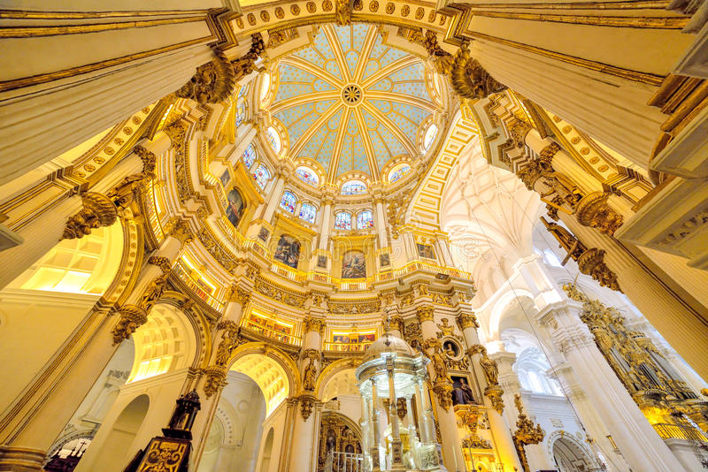 Artistic architecture of Malaga cathedral, Spain. Beautiful and romantic architecture of Malaga inside cathedral, in Andalusia, Spain stock photos