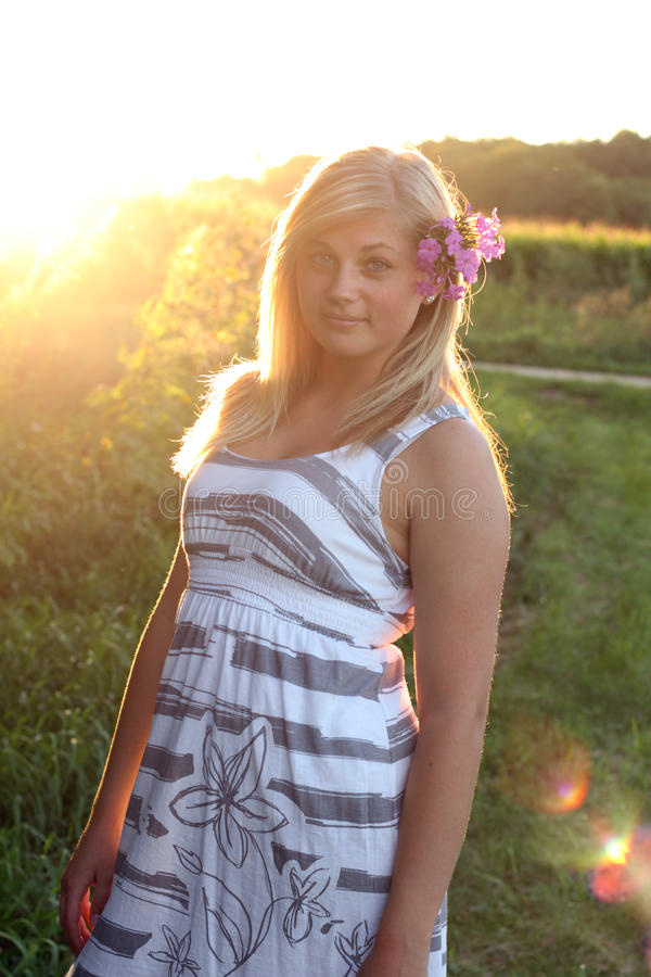 Artistic Backlit Teen Stock Photography