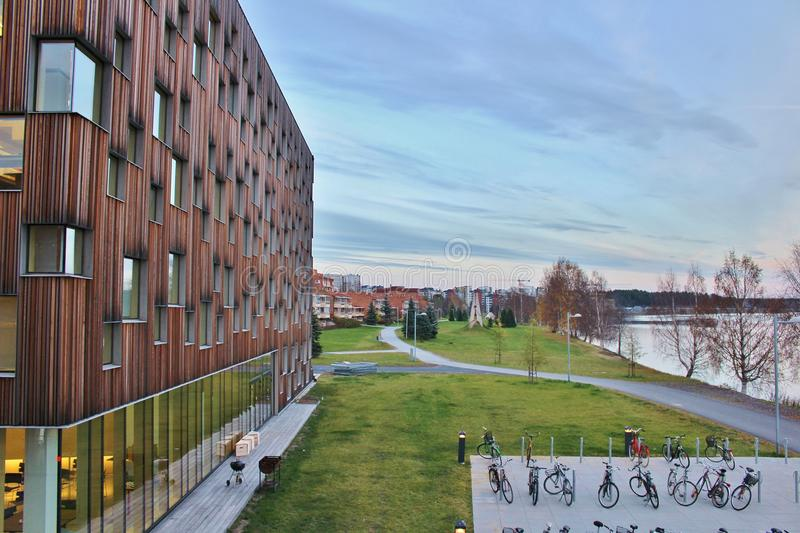 Artistic campus, Umeå University. The Academy of Fine Arts, Design College, Art School, Bildmuseet and Humlab-X are on a joint campus at Umeälven stock photography