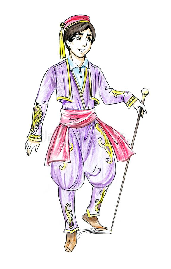 cartoon fairy tale handsome prince in fantasy Turkish costume royalty free stock photography