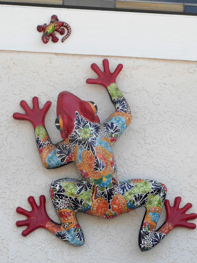 Artistic Colorful Ceramic Frog and Baby royalty free stock photo