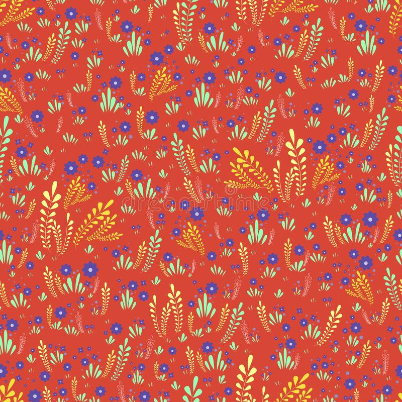 Artistic colorful field wild flowers seamless floral pattern. Decorative flowers and plants on a orange background. Original royalty free illustration