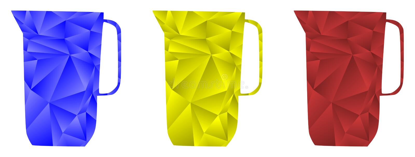 Artistic Colorful Pitchers of water isolated vector illustration