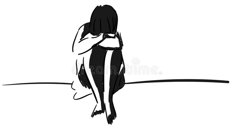 Artistic crouched woman isolated royalty free illustration