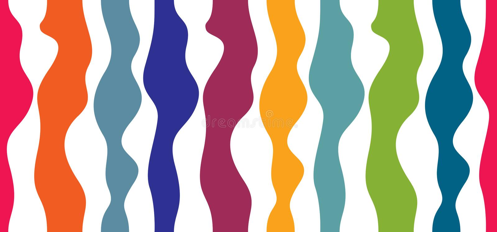 Artistic curve lines seamless pattern, abstract colorful vector stock illustration