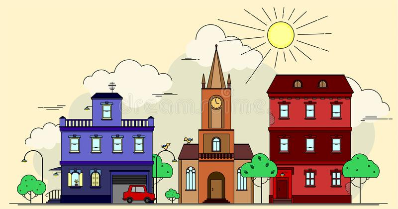 Artistic design vector drawing of european city buildings, church, car, funny birds and street lamps among green trees with sun, c royalty free illustration