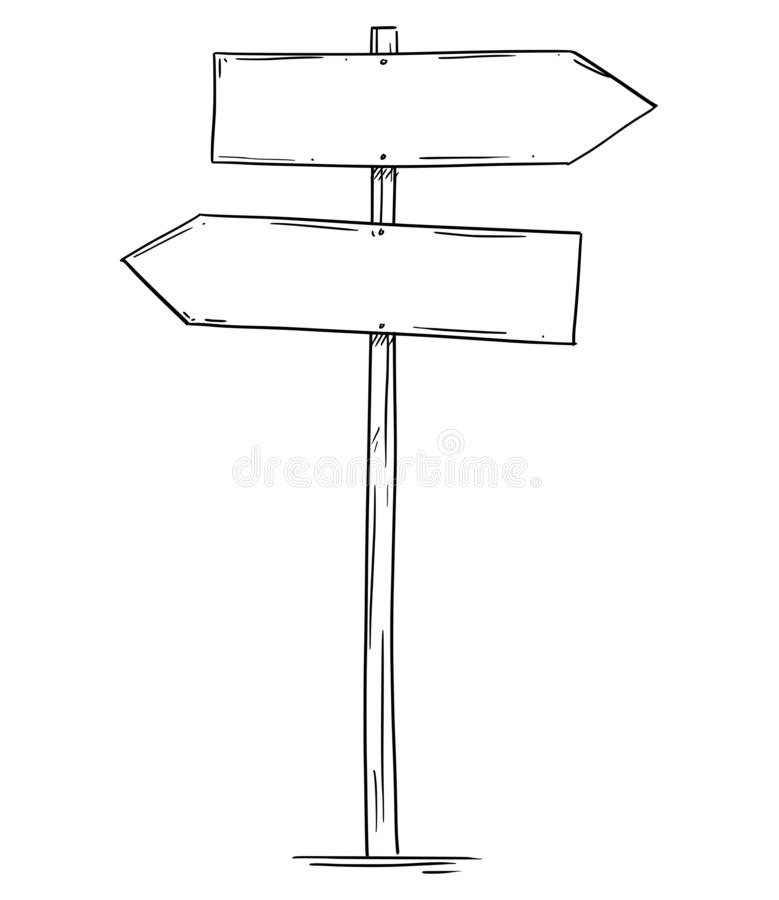 Drawing of Empty Old Wooden Road Two Directions Arrow Sign. Artistic drawing of old empty or blank wooden two directions road arrow sign. Ready for your text royalty free illustration