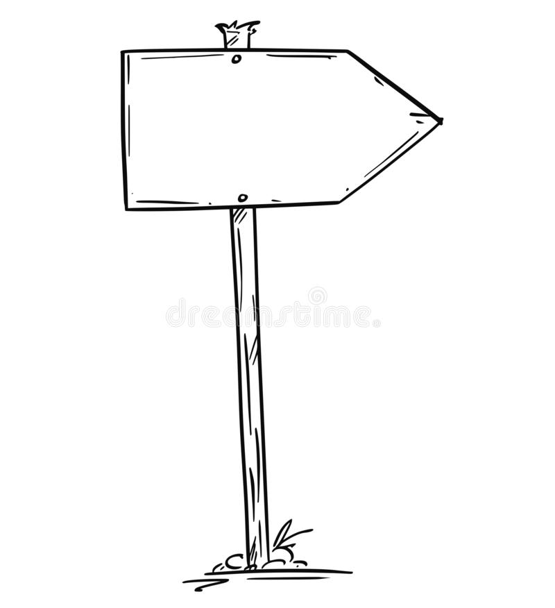 Drawing of Small Empty Old Wooden Road Arrow Sign. Artistic drawing of small old empty or blank wooden road arrow sign. Ready for your text vector illustration
