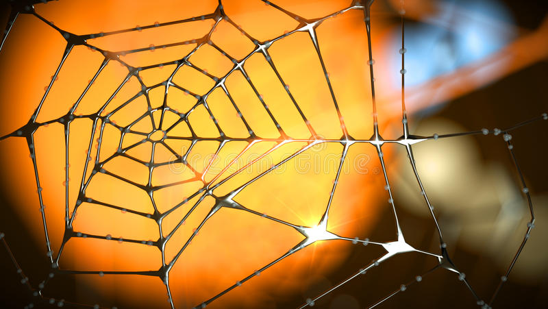 Artistic end abstract spider web of metal stock photos